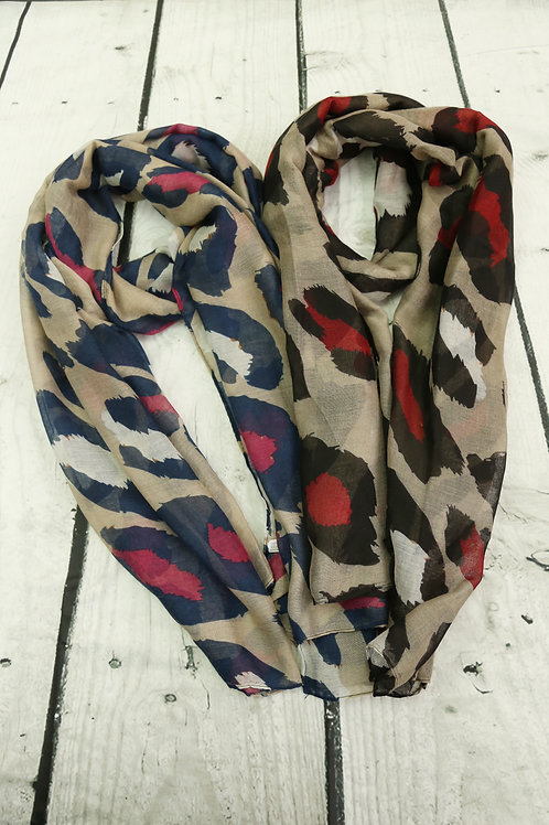 Red Accent Leopard Print Scarf