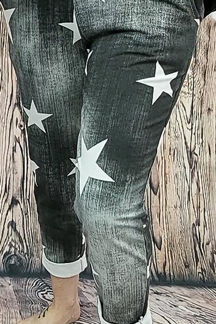 Black Denim Star Print Jogger