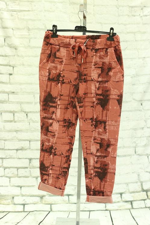 Rust Splash Print Magic Pants