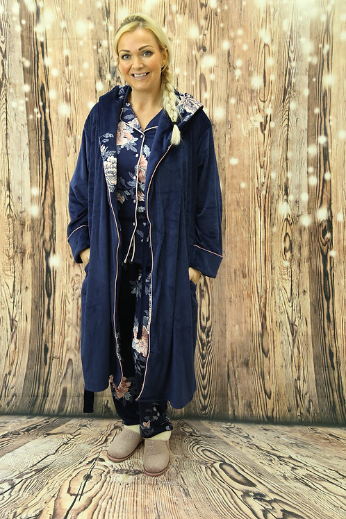 Navy Floral Hood Dressing Gown