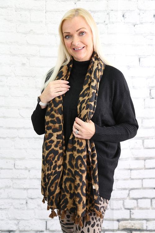 Leopard Print Tassel Scarf