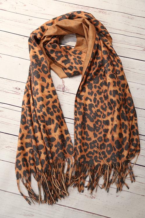 Reversible Leopard Print Scarf
