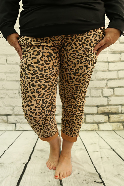 Animal Print Suede Magic Trousers