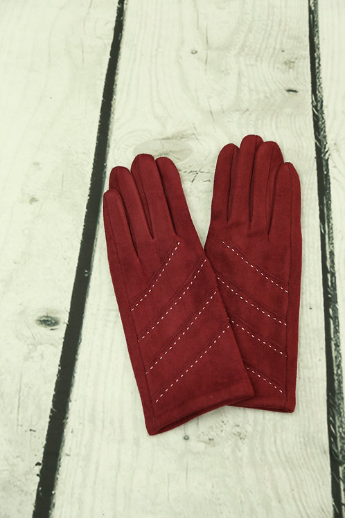 Red Stitch Detail Gloves