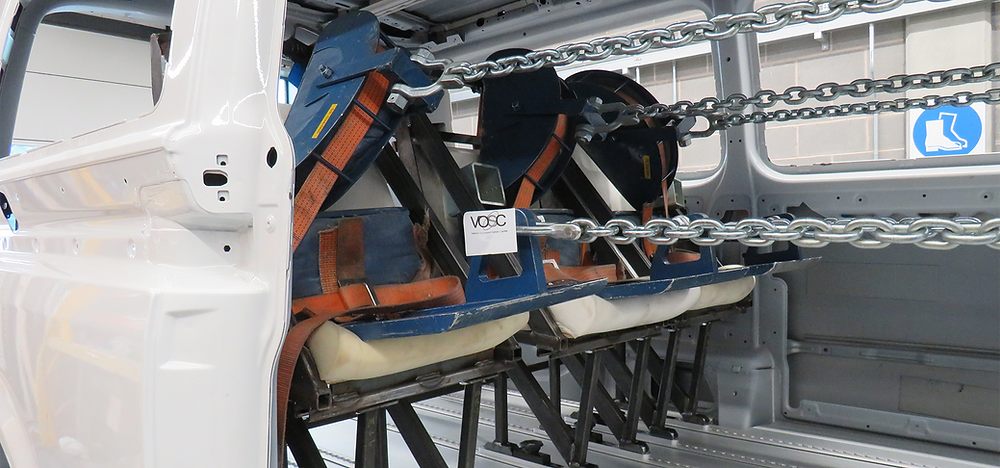 R14 seat belt anchorage pull test in vehicle at VOSC test facility
