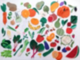fruits et légumes en papier