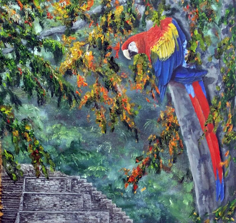 Scarlet Macaw over Copan Honduras