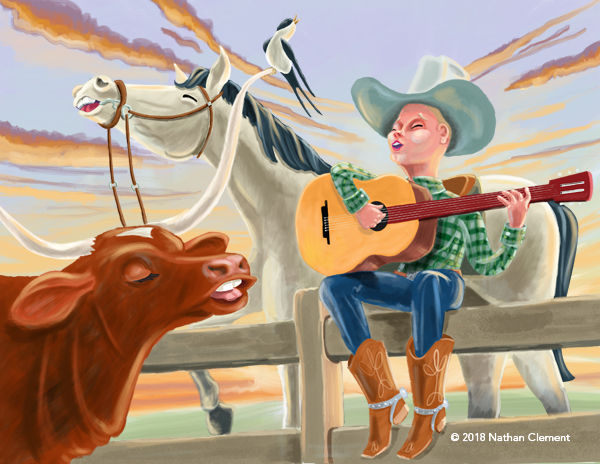 cowboy, cow, guitar, horse, evening sky