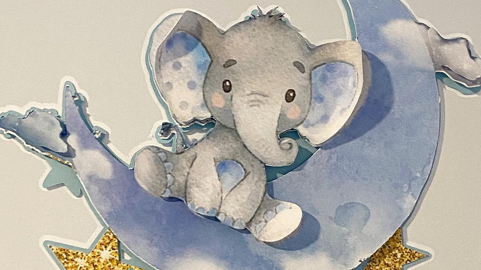 Baby Elephant 3D Cake Topper
