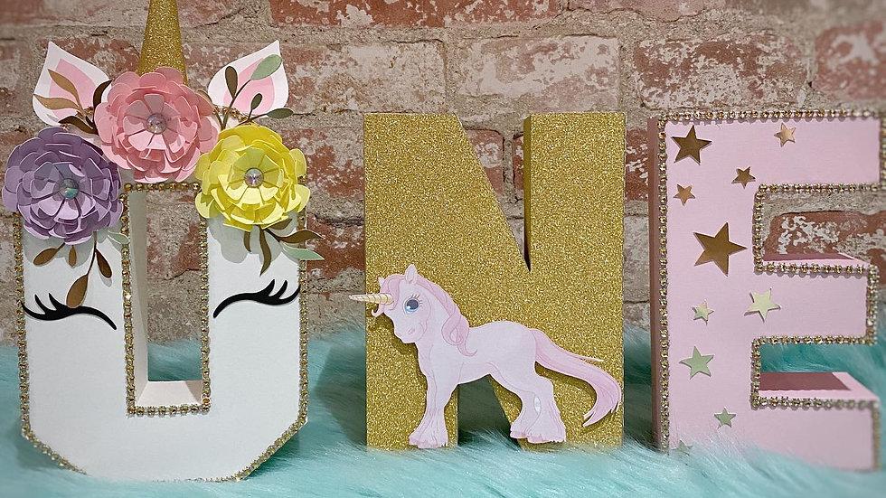 Unicorn 3D Cardstock Letter