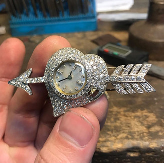 DIAMOND AND PEARL WATCH BROACH