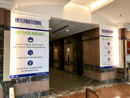 Welcome / marketing banners in the lobby