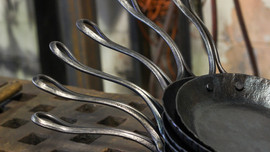 Close up photo of classic skillets