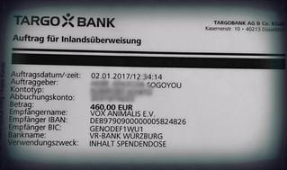 Unsere Einzahlung heute an VOX Animalis e.V. 460,- € ...herzlichen Dank an alle die gespendet hatten