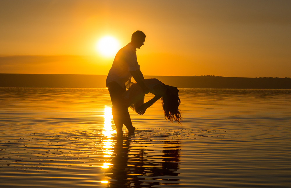 Sunset dance couple