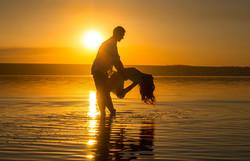 Sunset dance couple
