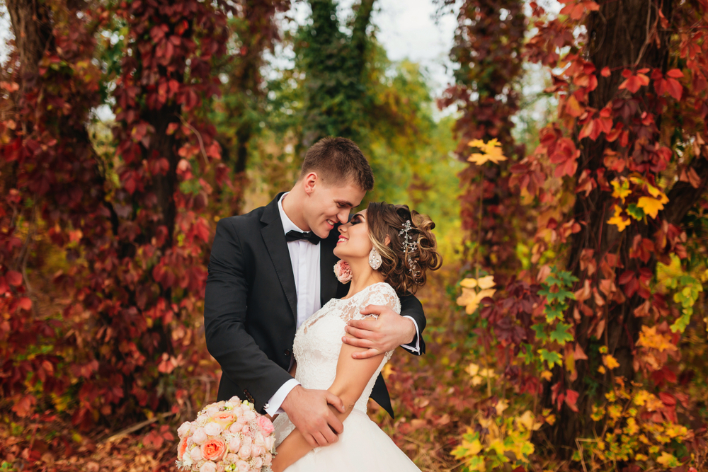 Fall wedding in forest