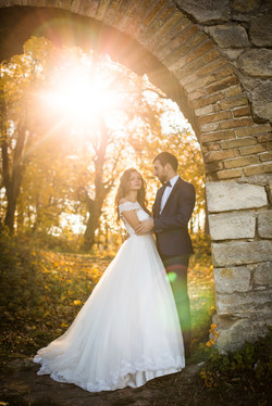 Fall wedding in a forest