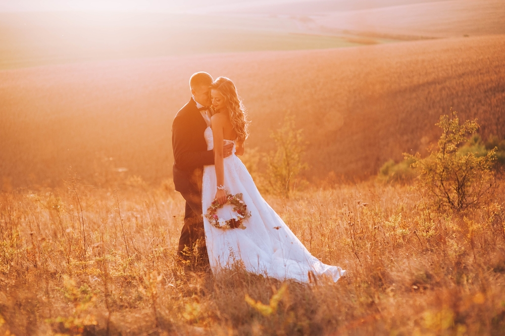 Sunset, outdoor wedding