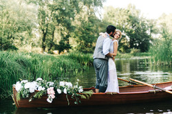 Wedding moment by river