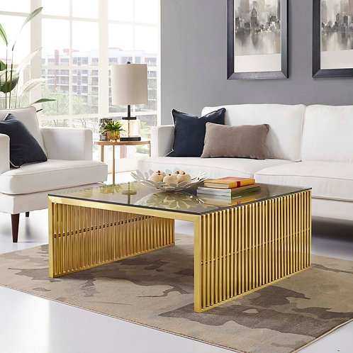 Gridiron Stainless Steel Coffee Table in Gold
