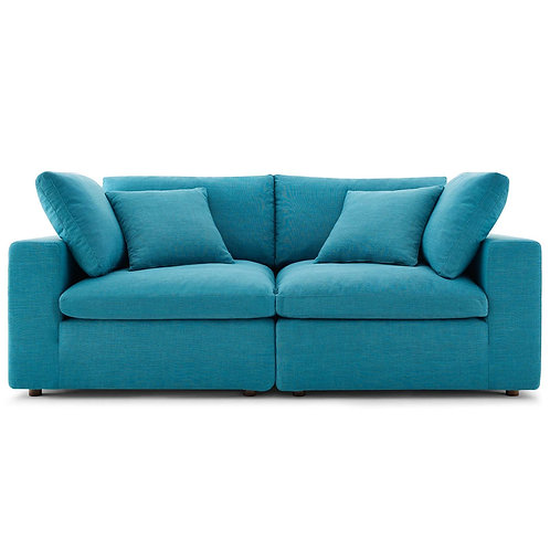 Commix Down Filled Overstuffed 2 Piece Sectional Sofa Set in Teal