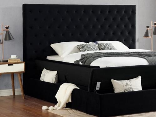Queen Velvet Tufted Storage Bed