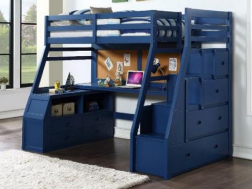Blue storage loft bed