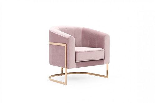 Modrest Trask Modern Pink Velvet & Rosegold Accent Chair