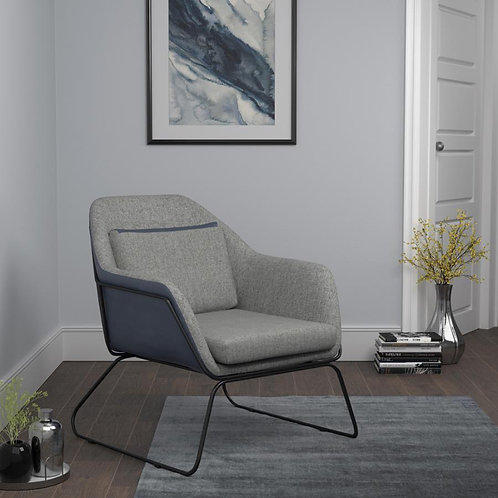 Grey and Black Accent Chair
