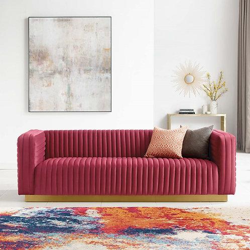 Charisma Channel Tufted Performance Velvet Living Room Sofa in Maroon