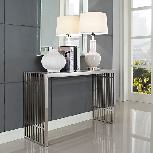 Gridiron Console Table in Silver