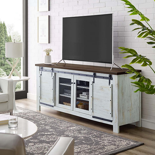 """Bennington 71"""" Rustic Sliding Door TV Stand in White"""