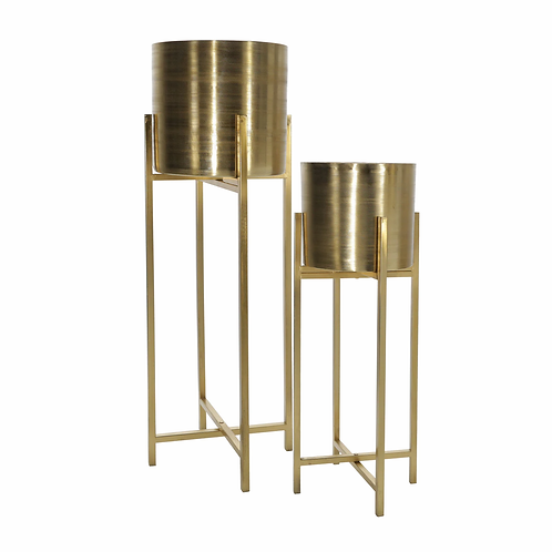 """S/2 METAL 38/47"""" METAL PLANTER ON STAND, GOLD/GOLD"""