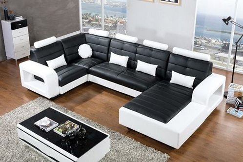 4pc Faux Leather Sectional Set - Left Sitting w LED