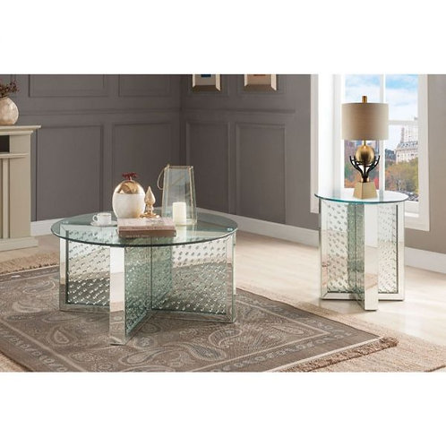 Nysa Coffee Table - 80215 - Mirrored & Faux Crystals