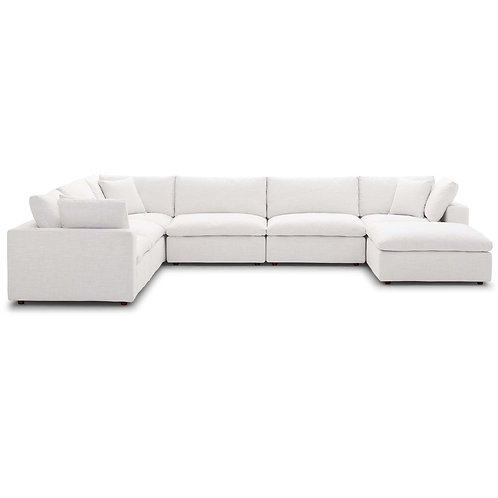 Commix Down Filled Overstuffed 7 Piece Sectional Sofa Set in Beige