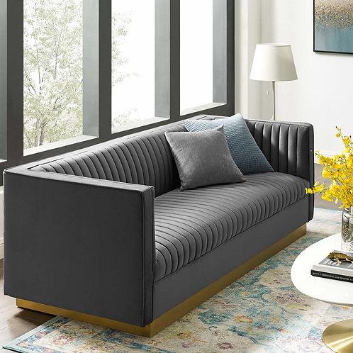 Sanguine Tufted Velvet Sofa in Gray