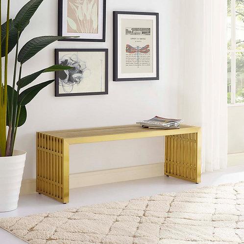 Gridiron Medium Stainless Steel Bench in Gold