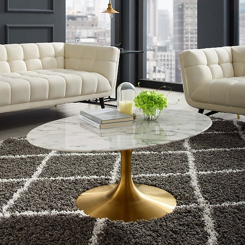 "Lippa 42"" Oval-Shaped Artifical Artificial Marble Coffee Table in Gold White"