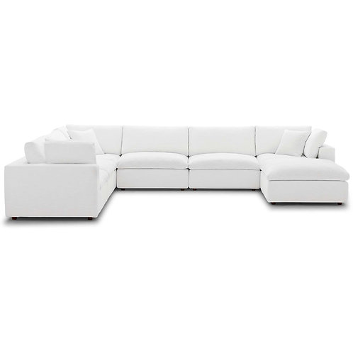 Commix Down Filled Overstuffed 7 Piece Sectional Sofa Set in White