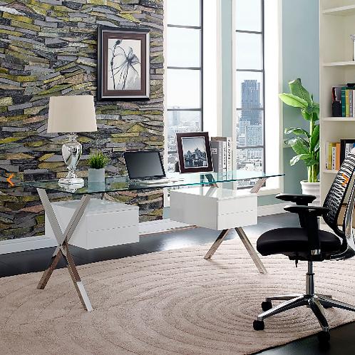 Abeyance Glass Top Office Desk in White