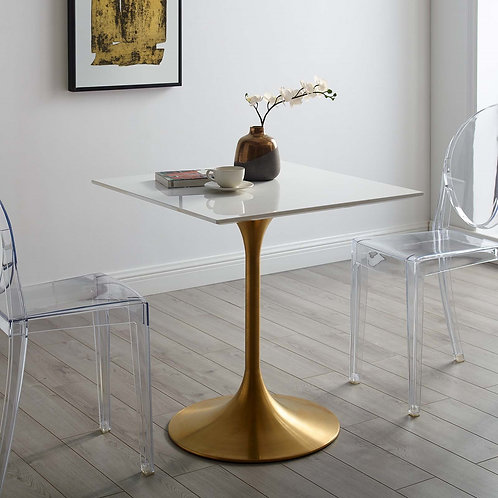 """Lippa 28"""" Square Wood Top Dining Table in Gold White"""