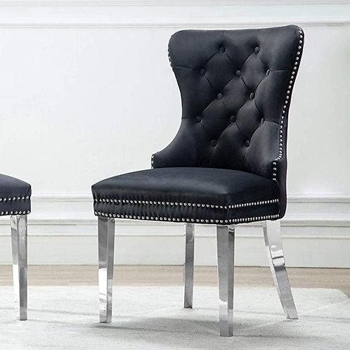 Button Tufted Velvet Side Chair Chrome Rings