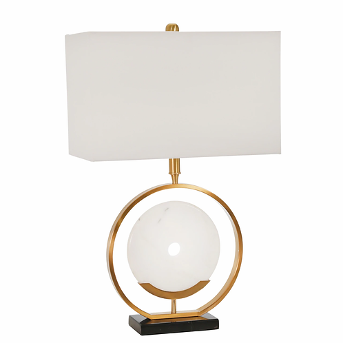 """2 METAL 27.5"""" RING W/  MARBLE DISC TABLE LAMP, GOLD"""