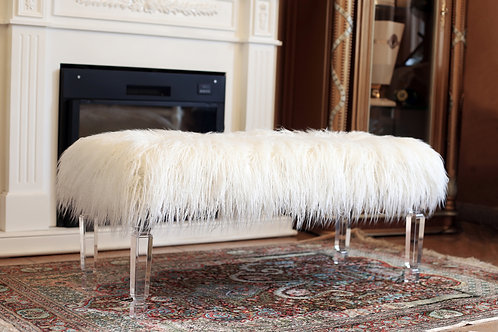 White Fur Accent Bench