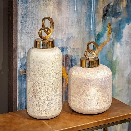 NK Monrovia Glass and Aluminum Bottles - Set of 2
