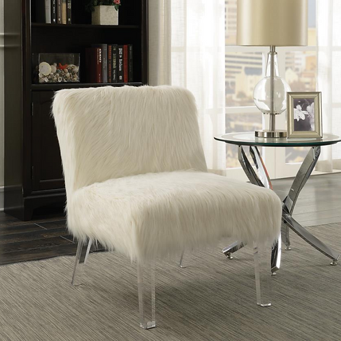 White Accent Chair with Acrylic Legs