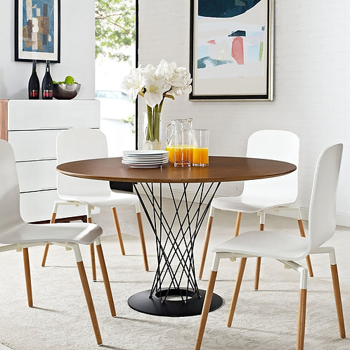 Cyclone Round Wood Top Dining Table in Walnut