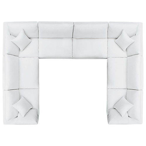 Commix Down Filled Overstuffed 8 Piece Sectional Sofa Set in White